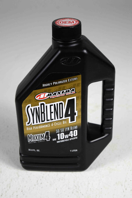 Maxima 34901B Syn Blend4 10W-40 Motorcycle Engine Oil - 1 Liter Bottle