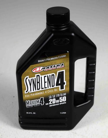 Maxima 35901B Syn Blend4 20W-50 Motorcycle Engine Oil - 1 Liter Bottle