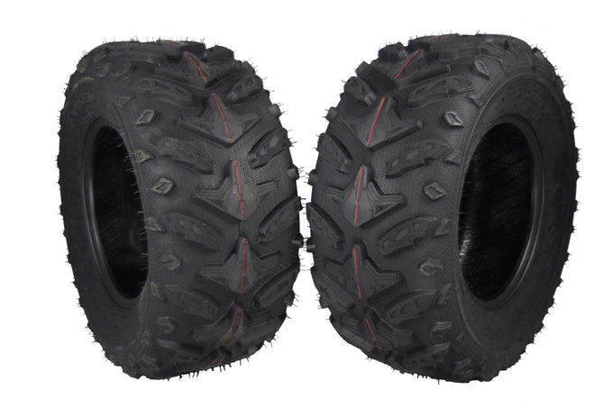 Two MASSFX 25x10-12 Tires