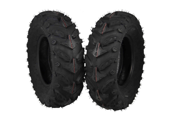 Two MASSFX 25x8-12 Tires