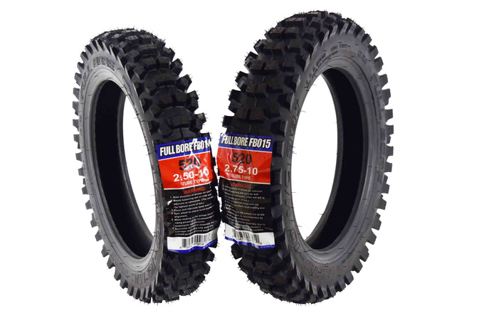 Full Bore 2.5-10 & 2.75-10 520 Intermediate Tread Dirt Bike Tire Set