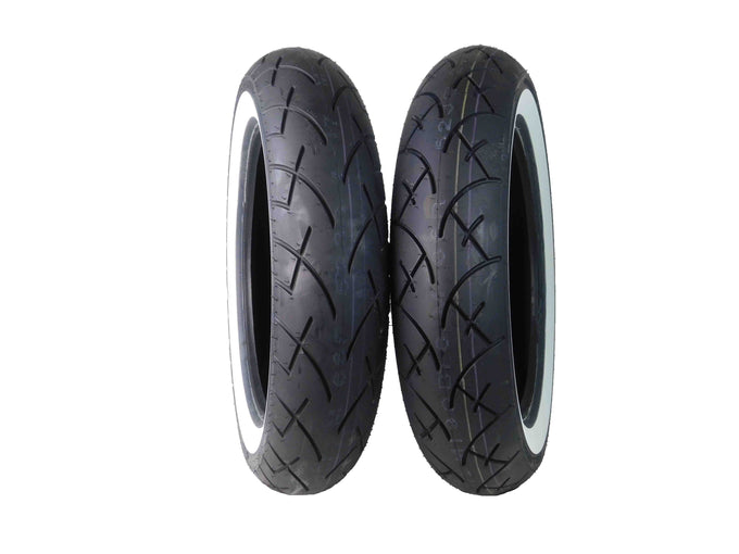 Full Bore 130/90-16 Front 130/90-16 Rear White Wall Motorcycle Tires