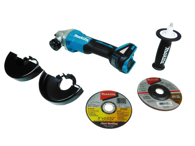 Makita XAG04Z Black and Blue Grinder with Accessories