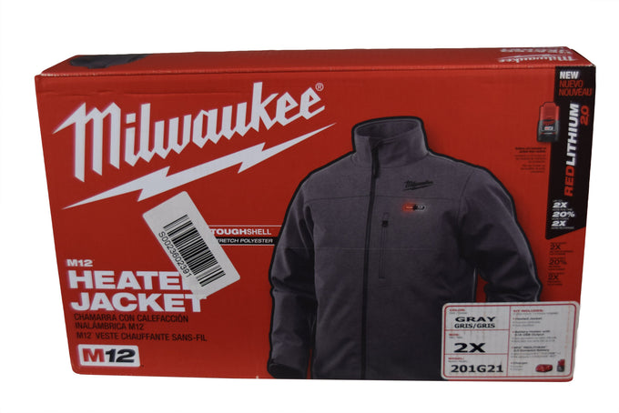 Milwaukee 201G-21XL Mens XL 12V M12 Gray Heated Jacket Kit