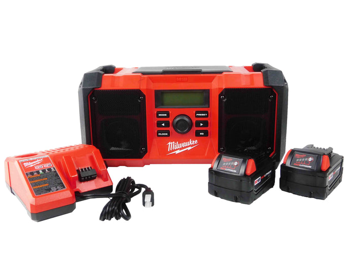 Milwaukee M18 2890-20 Jobsite Radio with Two 3Ah Battery Pack and Battery Charger