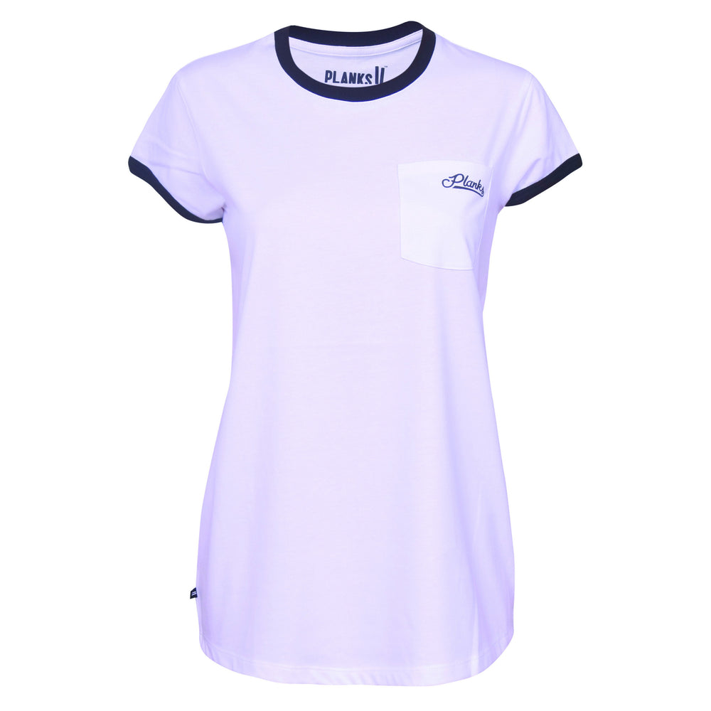 Womens Planks Pocket T Shirt White Ski Wear Planks Clothing