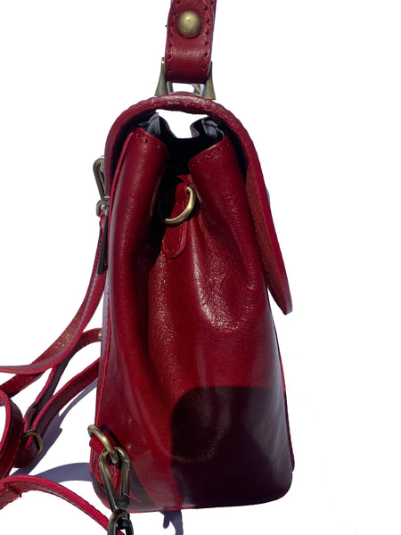 Small saddle hide leather backpack