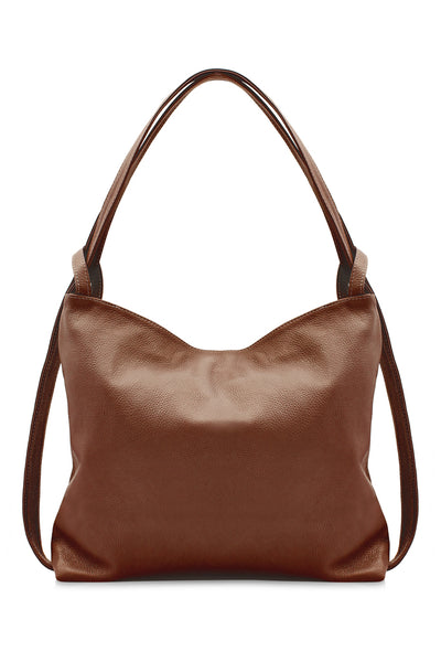 Ladies Grained Leather Croissant Shoulder Bag Backpack