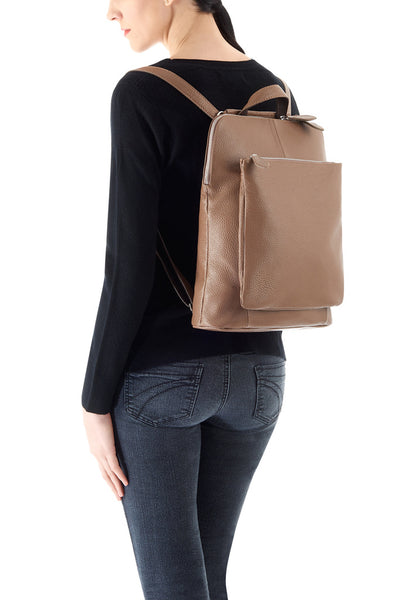 Ladies Grained Leather Layered Covertible Handbag Backpack