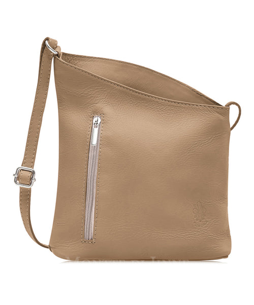 Ladies Slant Zip Slouchy Cross Body Bag