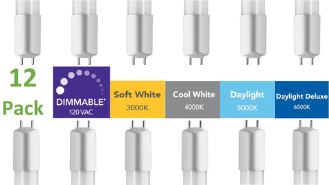 (12-pack) 4 ft. Dimmable Direct-wire LED Tubes