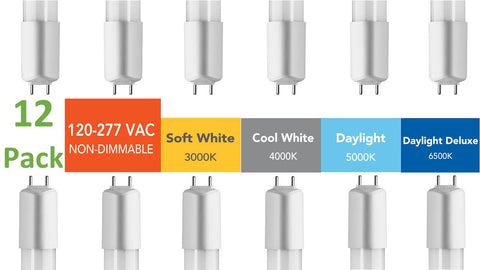 (12-pack BULK) 4 ft., 120-277 VAC Direct-wire LED Tubes