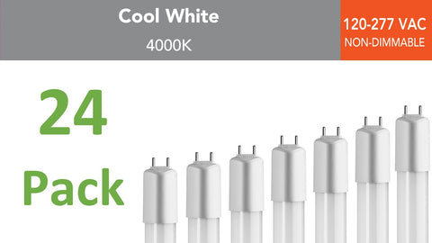 (24-pack) 2 ft., 120-277 VAC Direct-wire LED Tubes