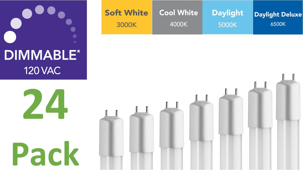 (24-pack) 4 ft., Dimmable Direct-wire LED Tubes