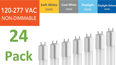 (24-pack) 4 ft., 120-277 VAC Direct-wire LED Tubes
