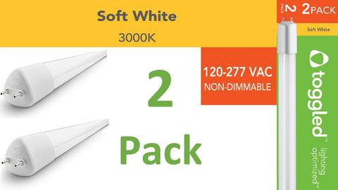 (2-pack) 120-277 VAC, 4 ft. Direct-wire LED Tubes, 3000K (Soft White)