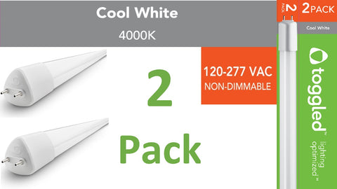 (2-pack) 120-277 VAC, 4 ft. Direct-wire LED Tubes, 4000K (Cool White)