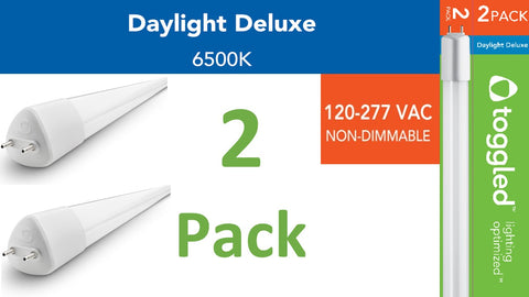 (2-pack) 120-277 VAC, 4 ft. Direct-wire LED Tubes, 6500K (Daylight Deluxe)