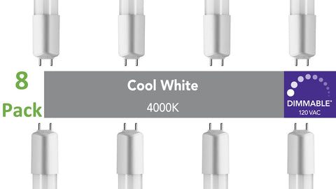 (8-pack) D-series (Dimmable) T8 /T12 Direct-wire LED, 4ft, 120 VAC, 16W, 4000K (Cool White)