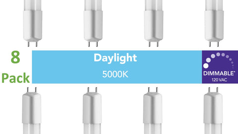 (8-pack) D-series (Dimmable) T8 /T12 Direct-wire LED, 4ft, 120 VAC, 16W, 5000K (Daylight)