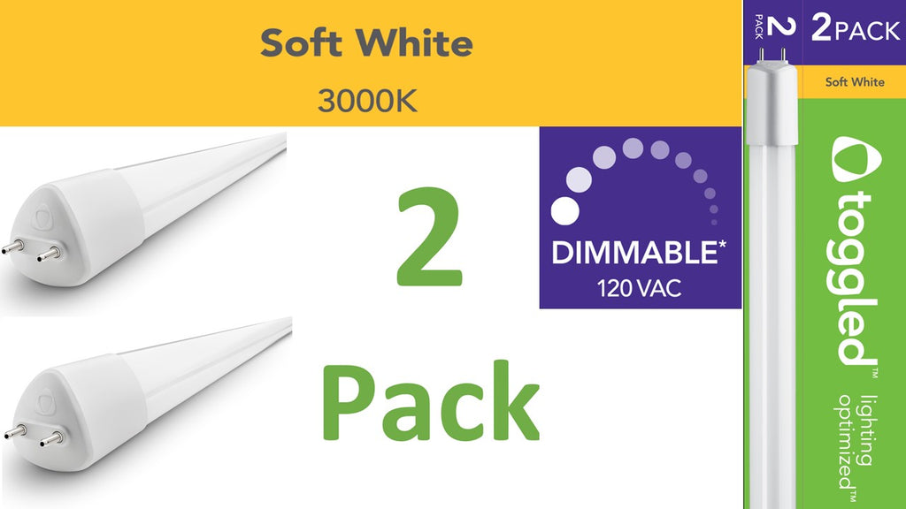 (2-pack) 4 ft. DIMMABLE Direct-wire LED Tubes