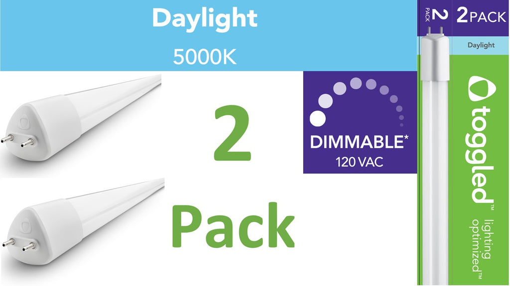 (2-pack) Dimmable - 4 ft. Direct-wire LED Tubes, 5000K (Daylight)