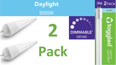 (2-pack) Dimmable - 4 ft. Direct-wire LED Tube, 5000K (Daylight)