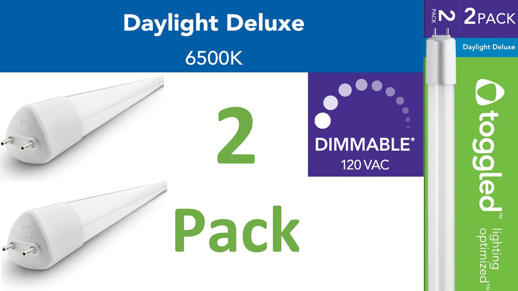 (2-pack) D-series - Dimmable - 4 ft. T8/T12 Direct-wire LED, 6500K (Daylight Deluxe)