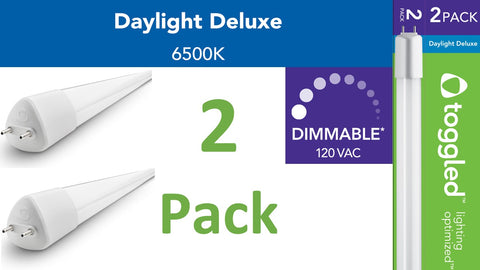 (2-pack) Dimmable - 4 ft. Direct-wire LED Tubes, 6500K (Daylight Deluxe)