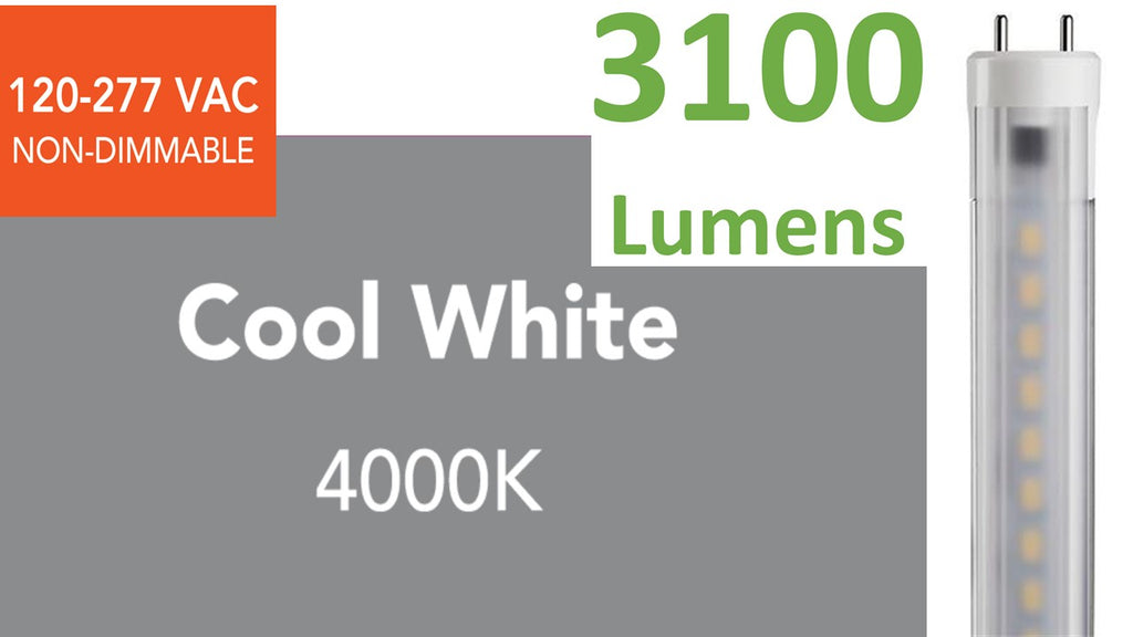 HIGH-OUTPUT 4 ft. T8/T12 Direct-wire LED, 3100 lumens, 4000K (Cool White)