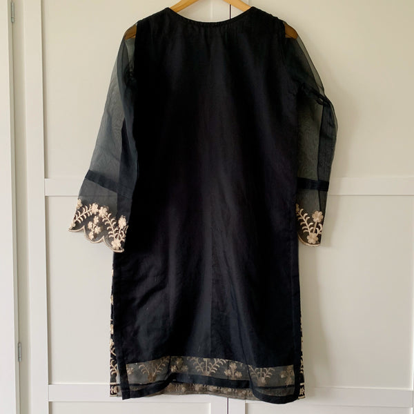 Agha Noor Original Black Embroidered Organza Kurta - WANT THAT LABEL