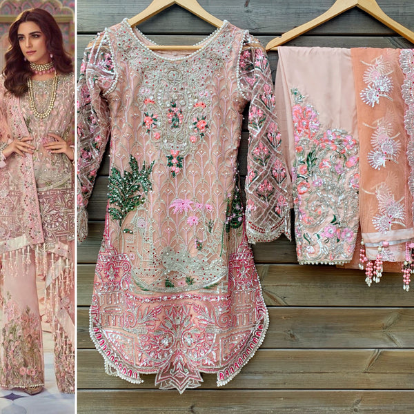 Crimson Pink Heavily Embroidered Net 3 Piece Suit - WANT THAT LABEL