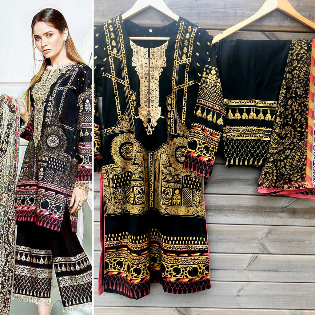 21d1711564 Gul Ahmed Inspired Black Embroidered Printed Lawn Suit - WANT THAT LABEL