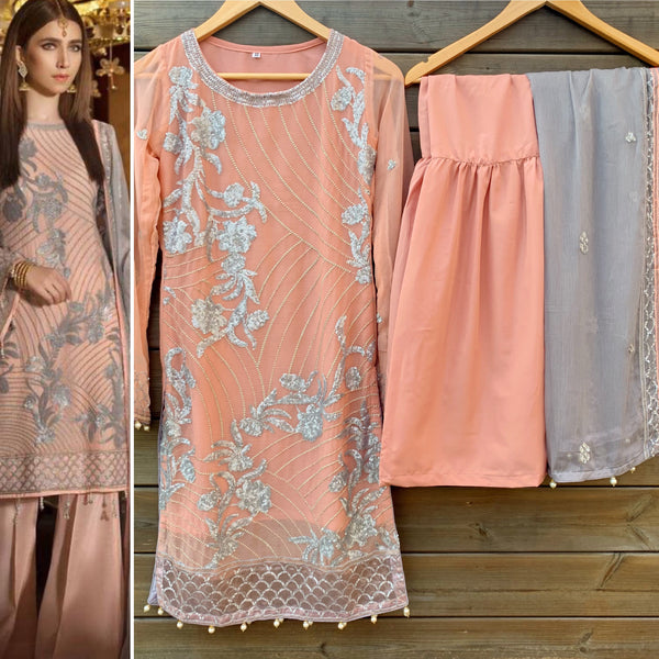 Maryam N Maria Peach Chiffon Garara 3 Piece Suit - WANT THAT LABEL