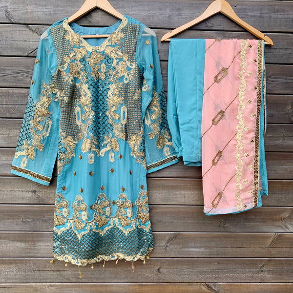 Maryum N Maria Inspired Teal Peach Embroidered Chiffon 3 Piece Suit