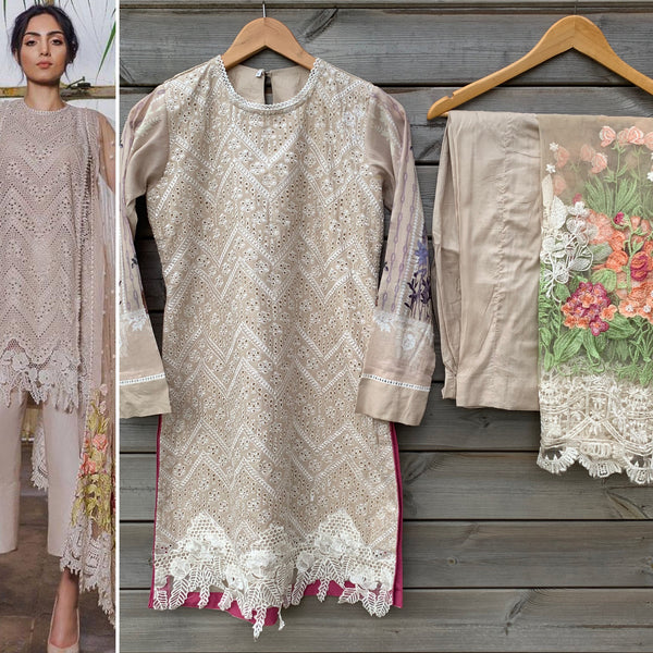 Sobia Nazir Inspired Nude Chikenkari 3pc Lawn Suit - WANT THAT LABEL