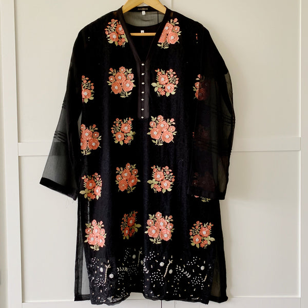 Agha Noor Original Black Floral Embroidered Chiffon Kurta - WANT THAT LABEL