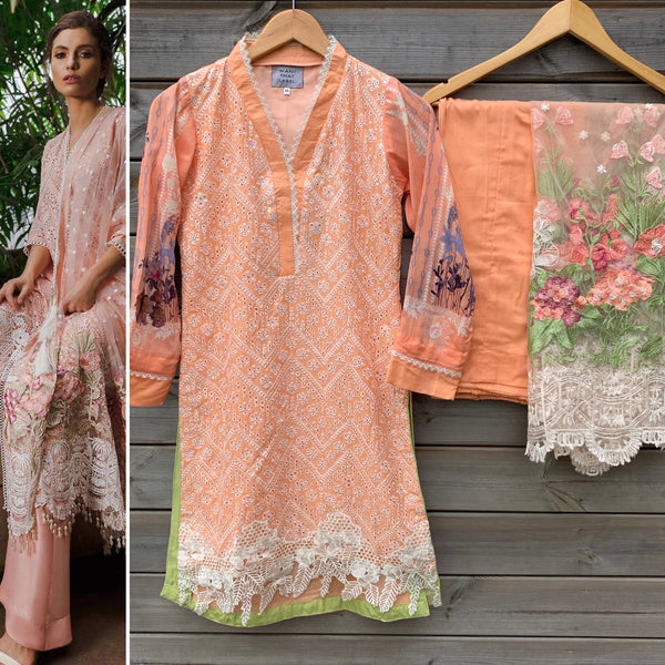 Sobia Nazir Inspired Peach Chikenkari 3pc Lawn Suit - WANT THAT LABEL