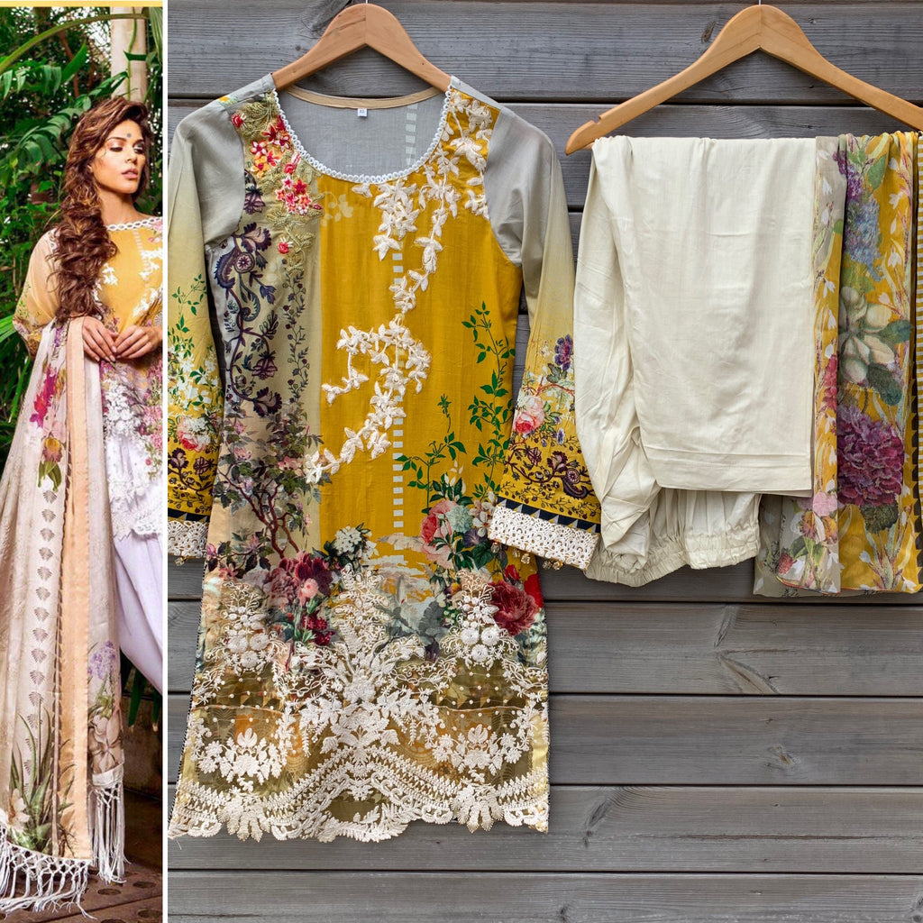 Sobia Nazir Inspired Yellow Embroidered 3pc Lawn Suit - WANT THAT LABEL