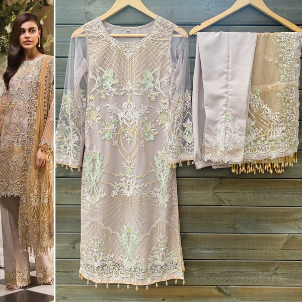 Anaya Inspired Mocha Gold Embroidered Net 3 Piece Suit