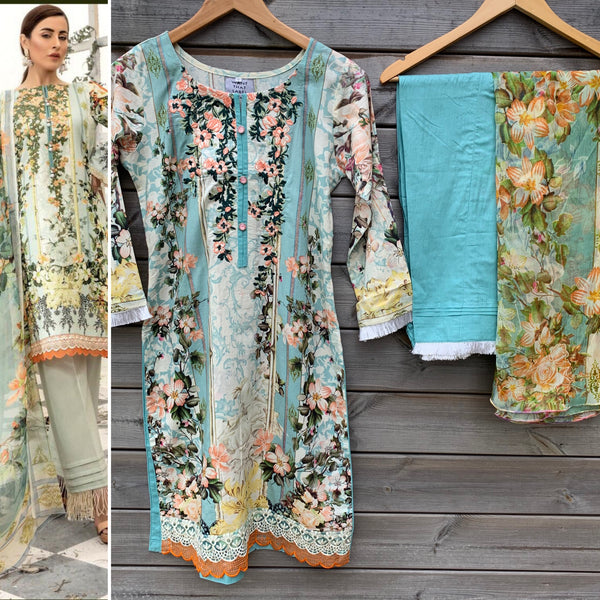 Firdous Inspired Blue Embroidered 3pc Lawn Suit - WANT THAT LABEL