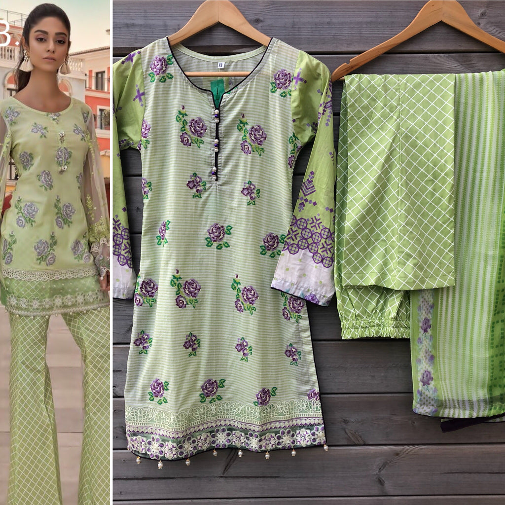 123a8b3e Maria B Inspired Light Green Lawn Embroidered 3pc Suit - WANT THAT LABEL