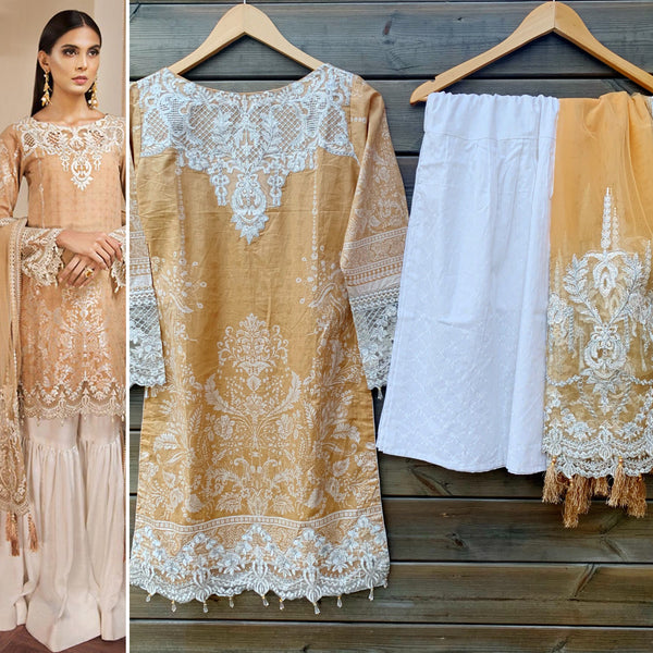 Anaya Inspired Lawn Gold Garara Net 3 Piece Suit - WANT THAT LABEL