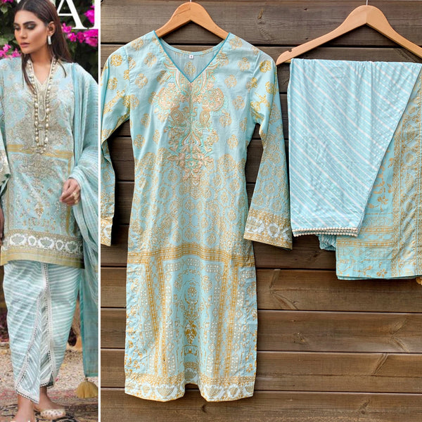 Sana Safinaz Inspired Blue White Linen 3 Piece Suit