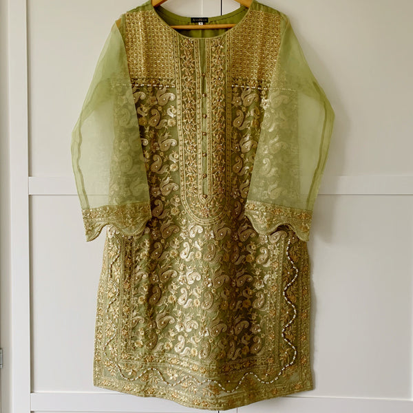 Agha Noor Original Green Embroidered Organza Kurta - WANT THAT LABEL