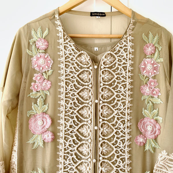 Agha Noor Original Mocha Brown Embroidered Pearl Chiffon Kurta - WANT THAT LABEL