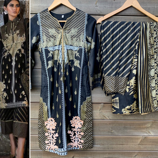 Sana Safinaz Inspired Black Gold Linen 3 Piece Suit