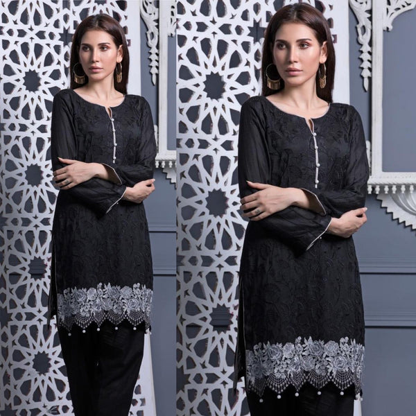 Areeba Saleem Original Black and White Button Front Embroidered Suit