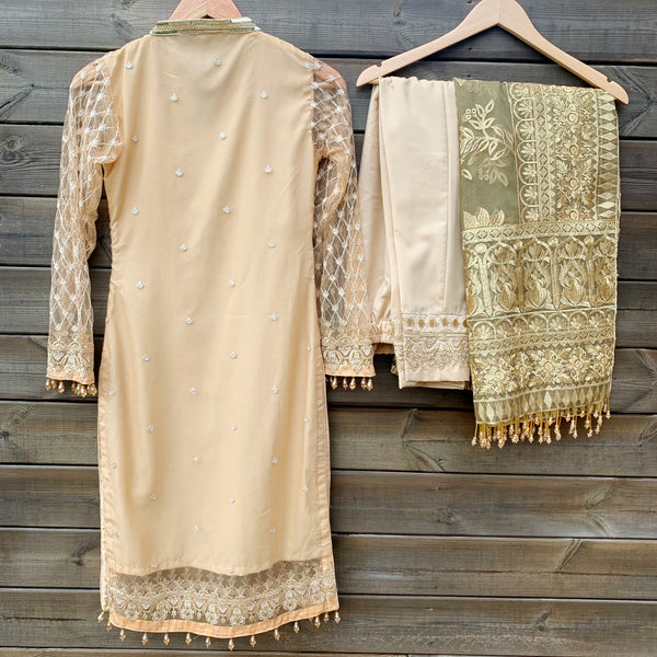 Anaya Inspired Gold Beige Embroidered Net 3 Piece Suit