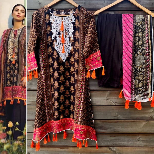Khaadi Inspired Black Pink Linen 3 Piece A-Line Suit